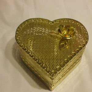 Other - Delicate Worked Metal Golden Heart Container